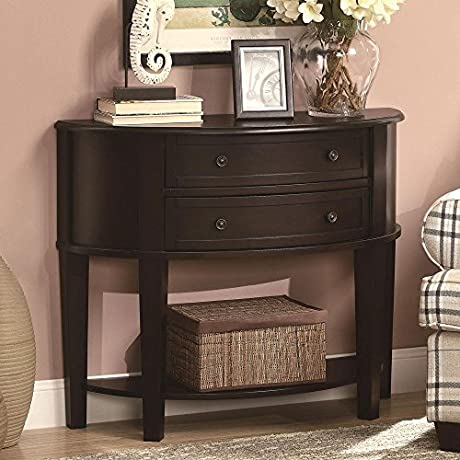 1PerfectChoice Accent Demilune Hallway Entry Console Sofa Table Drawer Display Shelf Cappuccino