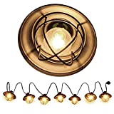 Patio String Lights, Ucharge Globe String Lights Outdoor 7 Bulb Vintage Ambience Lighting with Metal Cover Cafe/Shop/Gazebo Light Party Hanging Indoor Outdoor String Lights – Backyard Lights 8.5ft For Sale