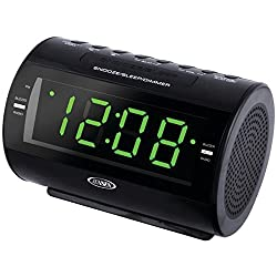 Jensen Compact AM/FM Dual Alarm Clock Radio with Soothing Nature Sounds & Large Easy to Read Backlit LCD Display