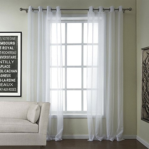 W300 Thermal (Solid White Curtain Solid Window Curtains Modern Voile Treatments Decorative Single Panel, Metal Grommet Top (W300 x H260)