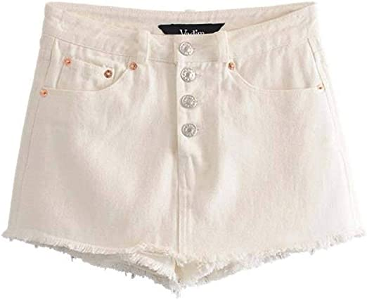 Las mujeres con estilo sólido pantalones cortos de mezclilla ...