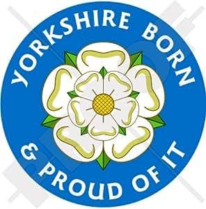 "YORKSHIRE, Nacido & Orgulloso Rosa Blanca de York Inglaterra Reino Unido 100mm (4"") Pegatina de Vinilo Adhesivo, Sticker, Calcomania x1"