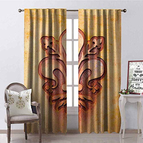 - Gloria Johnson Fleur De Lis Shading Insulated Curtain Lily Flower Symbol on Plate Floral Design Royal Arms France Sign Cultural Print Soundproof Shade W42 x L84 Inch Orange
