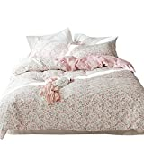 OTOB Pink Kids Girls Twin Bedding Sets Cotton Floral Twin Duvet Cover with 2 Pillow Shams Reversible Grey Rabbit Flower Leaf Pirnt 3 Piece Princess Bedding Sets Twin, Style 4