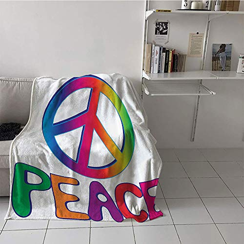 Children's blanket Throw Soft Blanket Microfiber (50 By 70 Inch,1960s Decorations Collection,Peace Text with Peace Sign Type Line Love Political Hippie Groovy Artistic Clipart Image,Pink Blue)