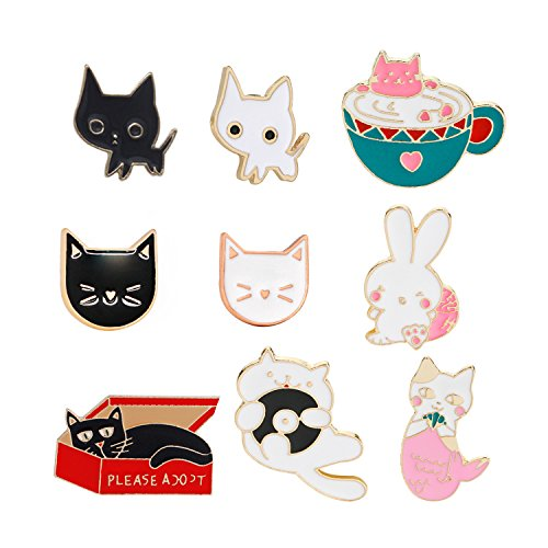 Cat Brooch - Lovely Cat Brooch Set Cute Cartoon Kitty Rabbit Brooch Pins Enamel Brooches Lapel Pins Clothes Bags Decoration Gifts For Woemn Girls By JoinLove