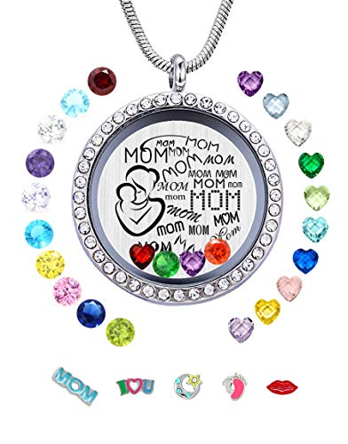 JOLIN Best Mom Gift from Daughter Son, Sivler Women Floating Locket Necklace Pendant Charms & 24 Birthstones Mother Mum - Ring Glass Floating