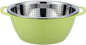 Tenta Kitchen 18/8 Stainless steel double-deck colander set, drain basket, filter basket, washing bowl, strainer with plastic basin, nesting strainer bowl, 2pcs/set (Green color)