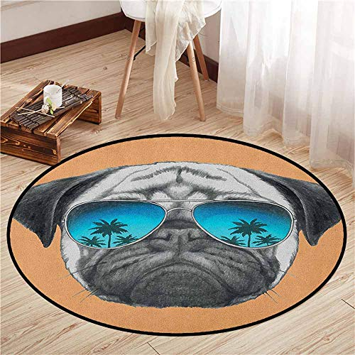 - Bedroom Rugs,Pug,Dog with Reflecting Aviators Palm Trees Tropical Environment Cool Pet Animal,Sofa Coffee Table Mat,4'7