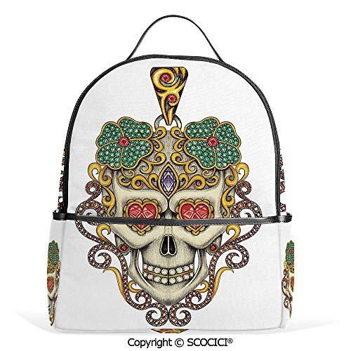 Casual Fashion Backpack Sugar Skull with Heart Pendants Floral Colorful Design Print Decorative,White Ivory and Yellow,Mini Daypack for Women & Girls ()