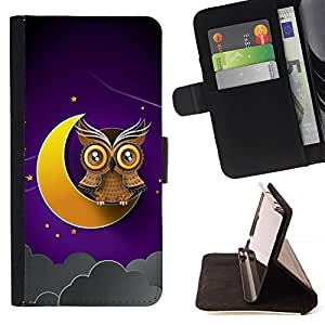 DEVIL CASE - FOR Sony Xperia Z2 D6502 - Awesome Owl On The Moon - Style PU Leather Case Wallet Flip Stand Flap Closure Cover