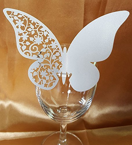 50pcs Butterfly Wedding Party Table Number Name Paper Place Cards Wine Glass Cup Decoration Wall Decals Sticker For Wedding Party Favor [White (Wine Glass Card)