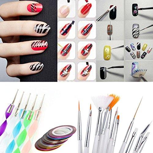 20pcs Dotting Pen Nail Art Brushes Design Set Drawing Polish Painting Tools and Gift