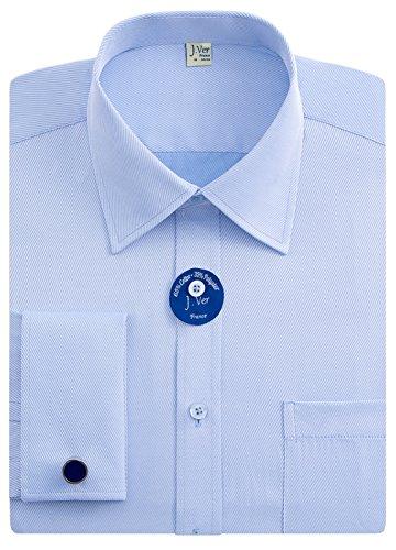 J.Ver Men's Regular Fit French Cuff Spead Collar Long Sleeve Metal Cufflink Dress Shirts - Color Blue, Size: 16.5