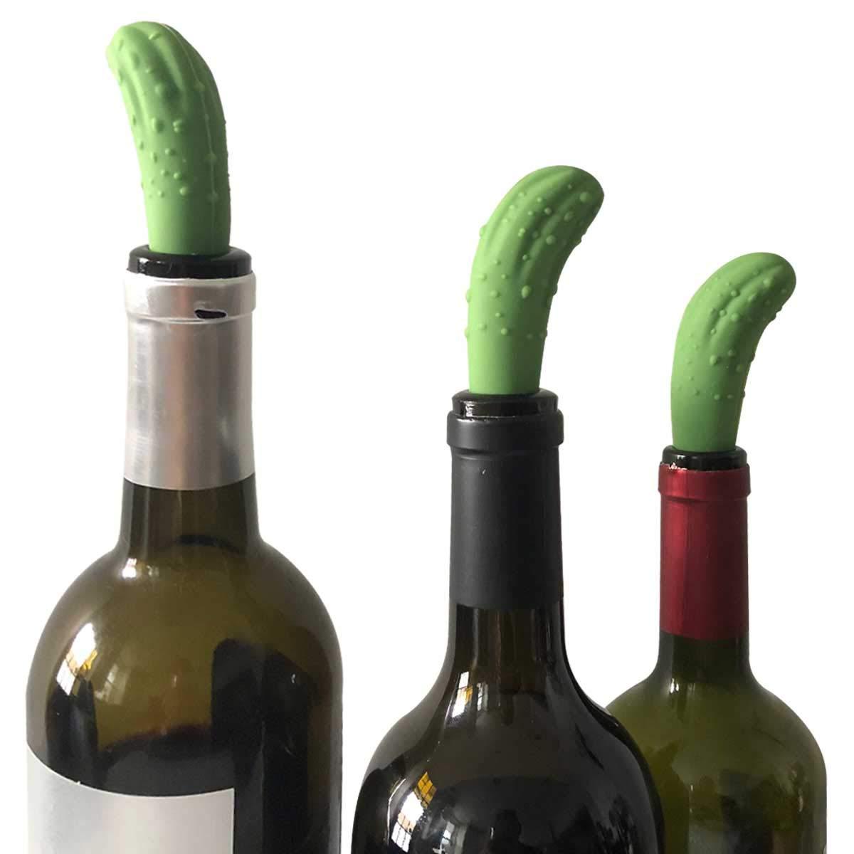 Pickle Wine Stopper - Funny Wine Bottle Stopper - Fun Silicone Bottle Stopper - WINE SAVER/PRESERVER - 2-PACK -By HAWWWY