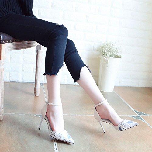 Talons Talons Unique Chaussures Superficiellement Peu Chaussures Beige Profond Creux Avec De Printemps Fin Zhudj Hauts Hauts Des w0p4pq