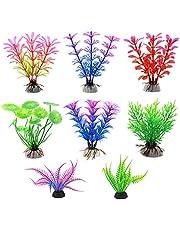 Aquarium Plants Decorations, 8 PCS Fish Tank Plastic Vivid Plants Décor with Ceramic Base (Color)