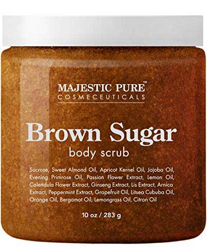 Shea Butter Sugar Scrub - Brown Sugar Body Scrub for Cellulite and Exfoliation - Natural Body Scrub - Reduces The Appearances of Cellulite, Stretch Marks, Acne, and Varicose Veins, 10 Ounces