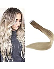 """Full Shine 18"""" Tape in Remy Hair Extentions Real Hair Extensions Ombre Hair Extensions Color #8 Fading to #60 Plautinum Blonde Balayge Human Hair 100g 40 Pcs Per Package"""