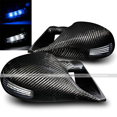 (01-05 Honda Civic 2DR Coupe M-3 Style LED Signal Real Carbon Fiber Manual Side Mirrors)