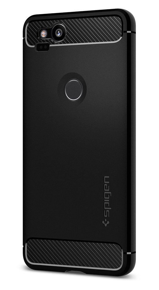 Spigen Rugged Armor Google Pixel 2 XL Case with Resilient Shock Absorption and Carbon Fiber Design for Google Pixel 2 XL (2017) - Black by Spigen (Image #3)