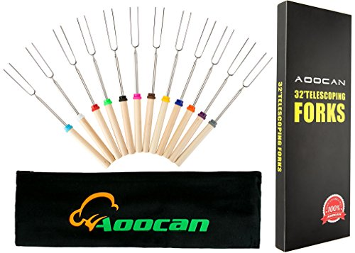 Aoocan Marshmallow Roasting Sticks Extending Roaster Set of 12 Telescoping Smores Skewers & Hot Dog Forks 32 Inch Fire Pit Camping Cookware Campfire Cooking Kids Accessories – FREE Bag