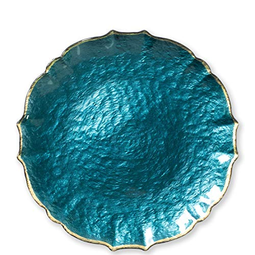 Vietri Viva Baroque Glass Teal Service Plate/Charger - Premium Quality Gold Rimmed Tableware (Charger Teal Plates)