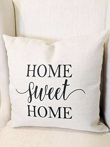 (Home Sweet Home Pillow Cover - 16x16 Pillow Cover - Farmhouse Decor - Farmhouse Pillow Covers - Rustic Pillow - Rustic Decor - Phrase Pillow 16 in)