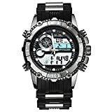 SPOTALEN Men's Analog Digital Sports Watches, Military Multi-functional Black Waterproof Wrist Watches with LED