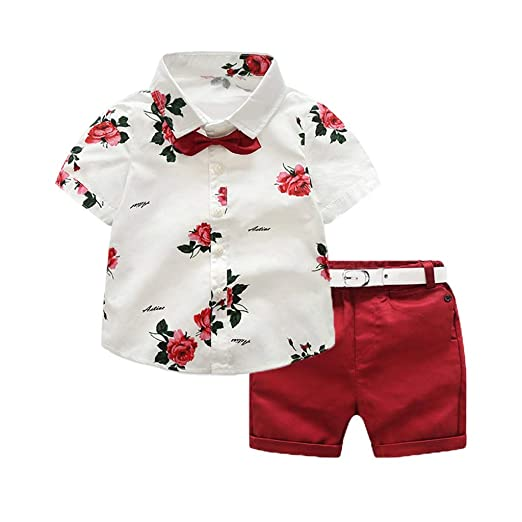 427513dd Baby Toddler Boys Summer Clothes Sets 1-6 Years Old Kids Gentleman Suit  Rose Bow