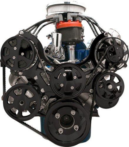 NEW BILLET SPECIALTIES BLACK ANODIZED TRU-TRAC SBF FRONT ENGINE KIT WITH WATER PUMP, ALTERNATOR, POWER STEERING PUMP, A/C COMPRESSOR, TIMING COVER, BLACK SERPENTINE PULLEYS, & BLACK BRACKETS, SMALL BLOCK FORD 289, 302, 351W - A/c Compressor Clutch Cover