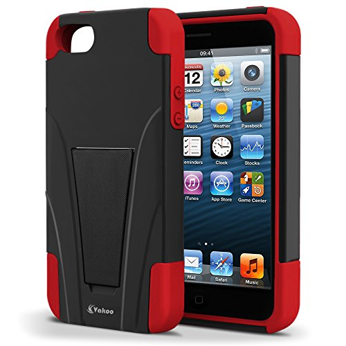 Vakoo-BX-HQ1J-EO7L02-iPhone-5S5-Case-Shield-Series-Dual-Layer-Defender-Shockproof-Drop-Proof-High-Impact-Hybrid-Armor-Silicone-Rugged-Case-for-Apple-iPhone-SE-5-5s-with-Kickstand--RedBlack