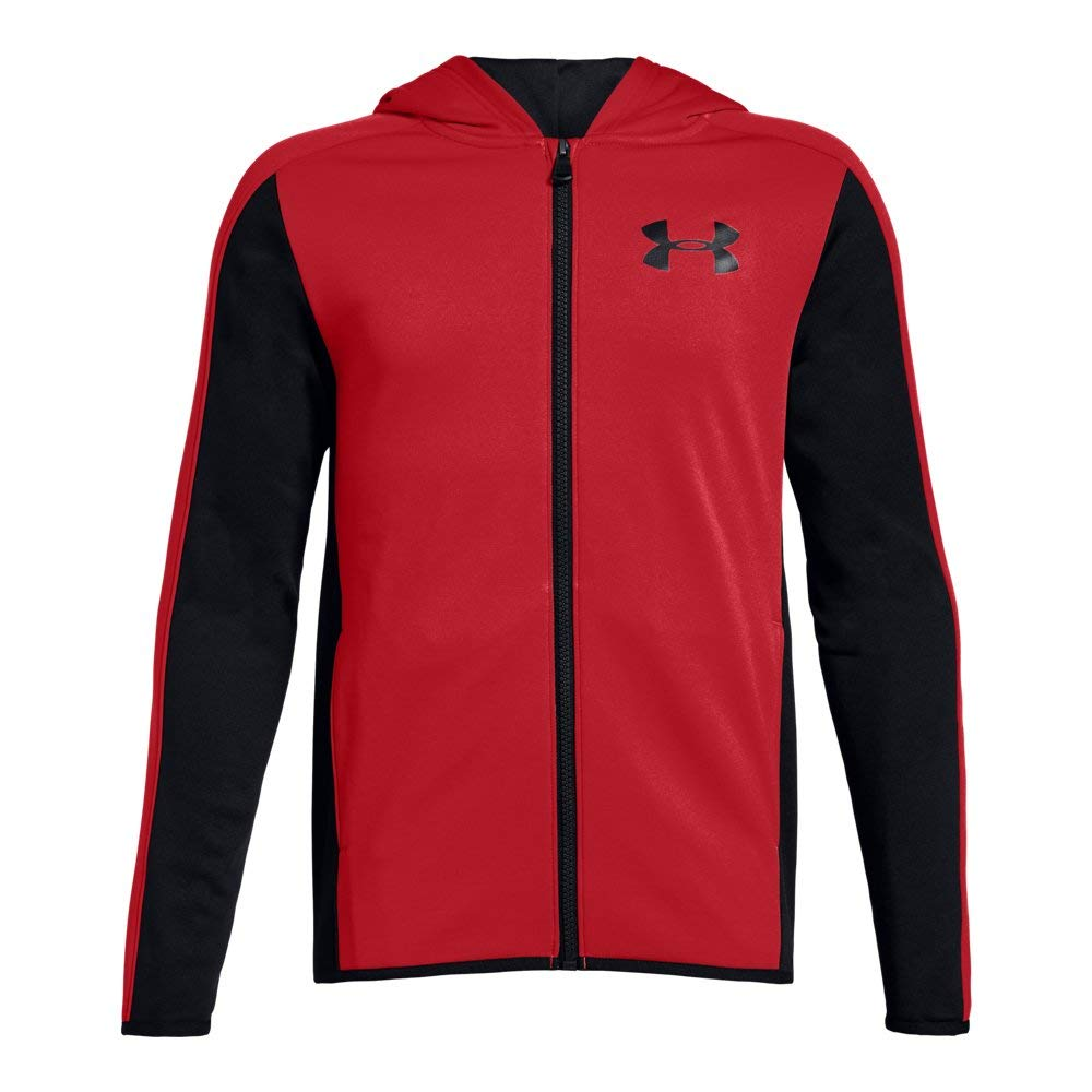 Under Armour Boys Armour Fleece Full Zip, Red (600)/Black, Youth X-Small