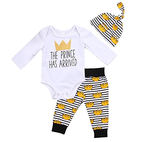 Newborn Baby Boys Clothes Letters Romper Pants Outfit Set Long Sleeve Crown Bodysuit Pants (3-6M, White) ()