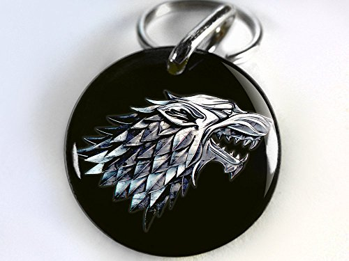 Game of Thrones Custom Pet ID TAG DOG TAG BLACK STARK WOLF (Small 1'') by ID4Pet