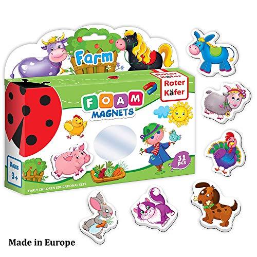 Refrigerator magnets for kids FARM ANIMALS - 31 Foam magnets for toddler - Fridge magnetic set for children- Baby development toys- Study magnets for babies- Farm toys- Farm animals toys- Animals toys
