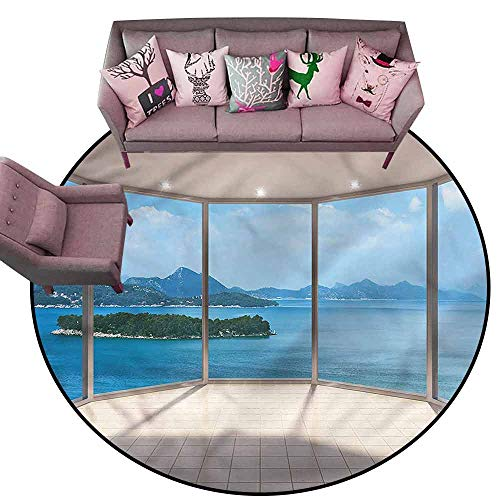 (Carpet for Living Room Modern,Empty Lounge Area Ocean View Diameter 54