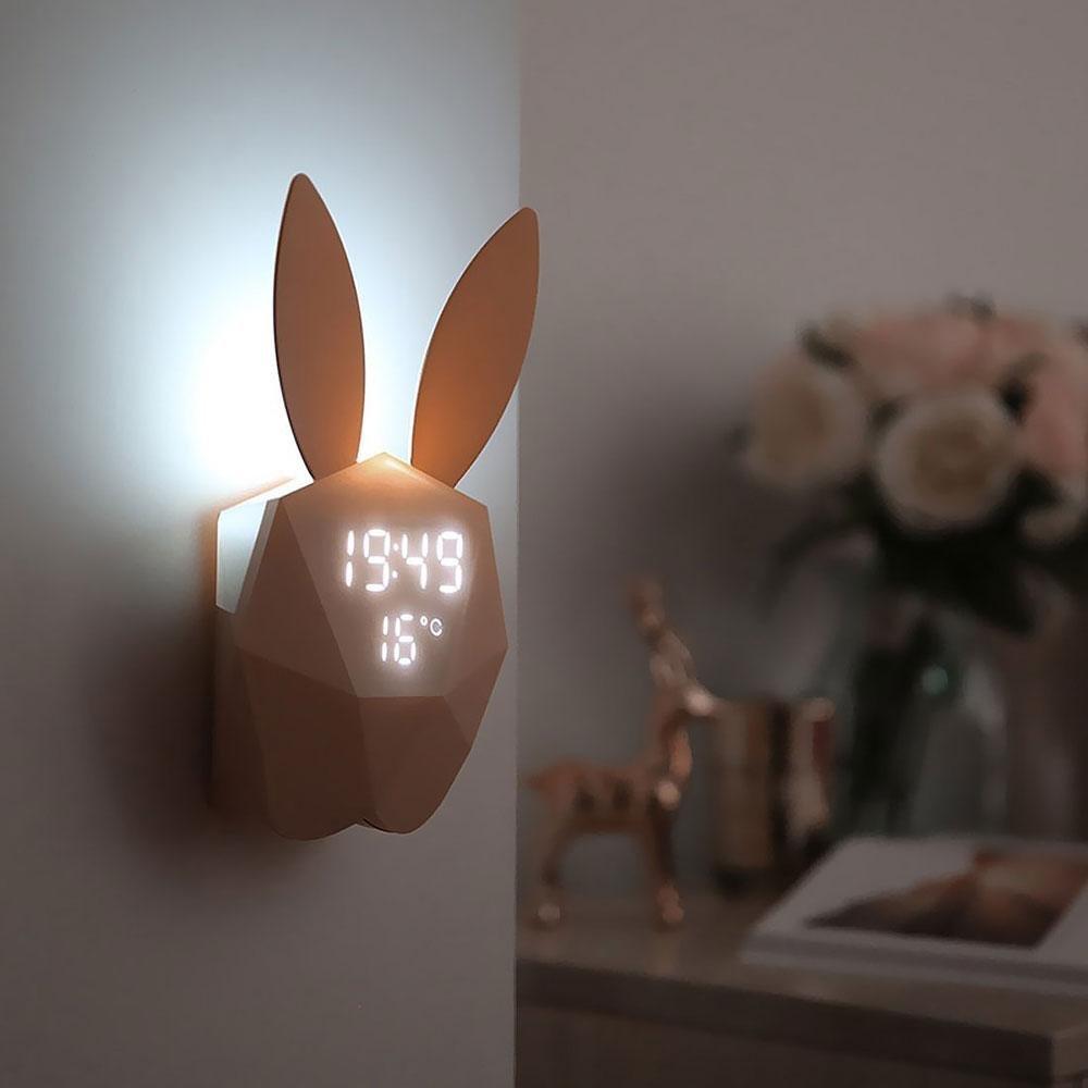 G Pawaca Lapin Veilleuse R/éveil Cr/éatif R/éveil Digital avec Musique Voice- Rosa Montre Child-Lot de LED de Charge