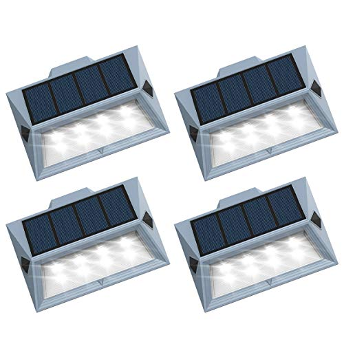 Roopure?Newest Version 8 LED?Solar Stair Step Lights Outdoor Decorative Solar Deck Lights Wireless Waterproof Lighting for Garden Wall Paths Patio Decks Auto On/Off 4 Pack