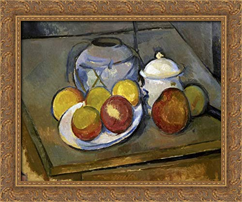 Flawed Vase, Sugar Bowl and Apples 24x20 Gold Ornate Wood Framed Canvas Art by Cezanne, Paul (Sugar Bowl Open Gold)