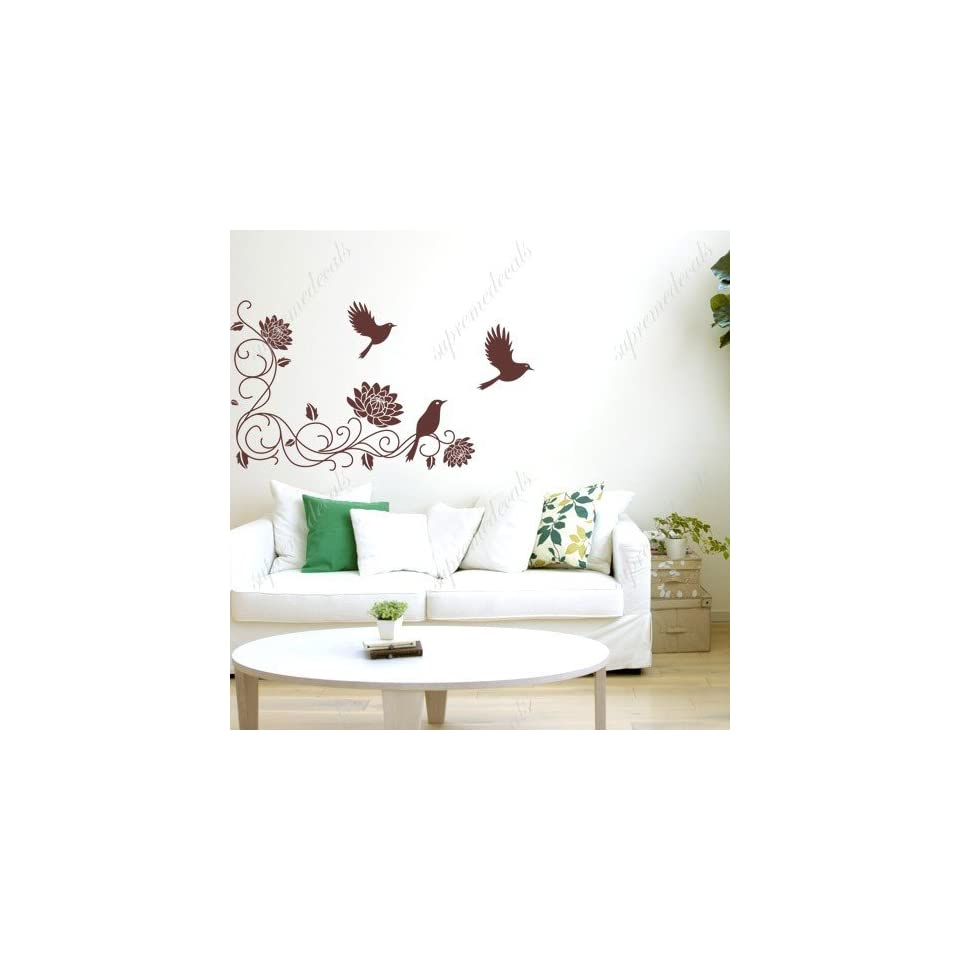 Made in US   Free Custom Color   Flower vines and birds   removable vinyl art wall decals murals home decor