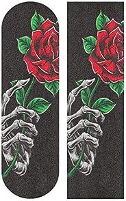 Skull Skeleton Rose Flower Skateboard Grip Tape Sheets Graphic Longboard Griptape Bubble Free Anti-Slip 33&quo