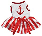 Petitebella Puppy Dog Clothes Red Sequins Anchor Top Red White Stripe Dress (X-Small, White)