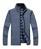 Yeokou Men's Casual Slim Fit Full Zip Thick Knit Cardigan Sweaters with Pockets Blue L