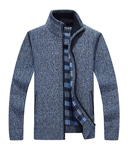 40067128b Yeokou Men's Casual Slim Fit Full Zip Thick Knit Cardigan Sweaters with  Pockets Blue L by