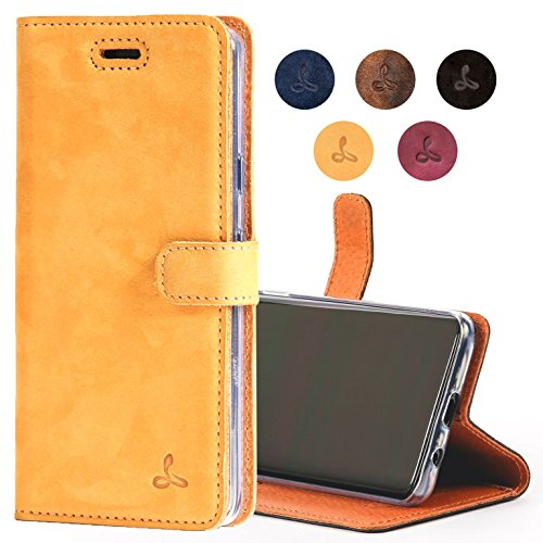 Google Pixel 2 XL Case, Snakehive Genuine Leather Wallet with Viewing Stand and Card Slots, Flip Cover Gift Boxed and Handmade in Europe by Snakehive for Google Pixel 2 XL - (Honey Gold)