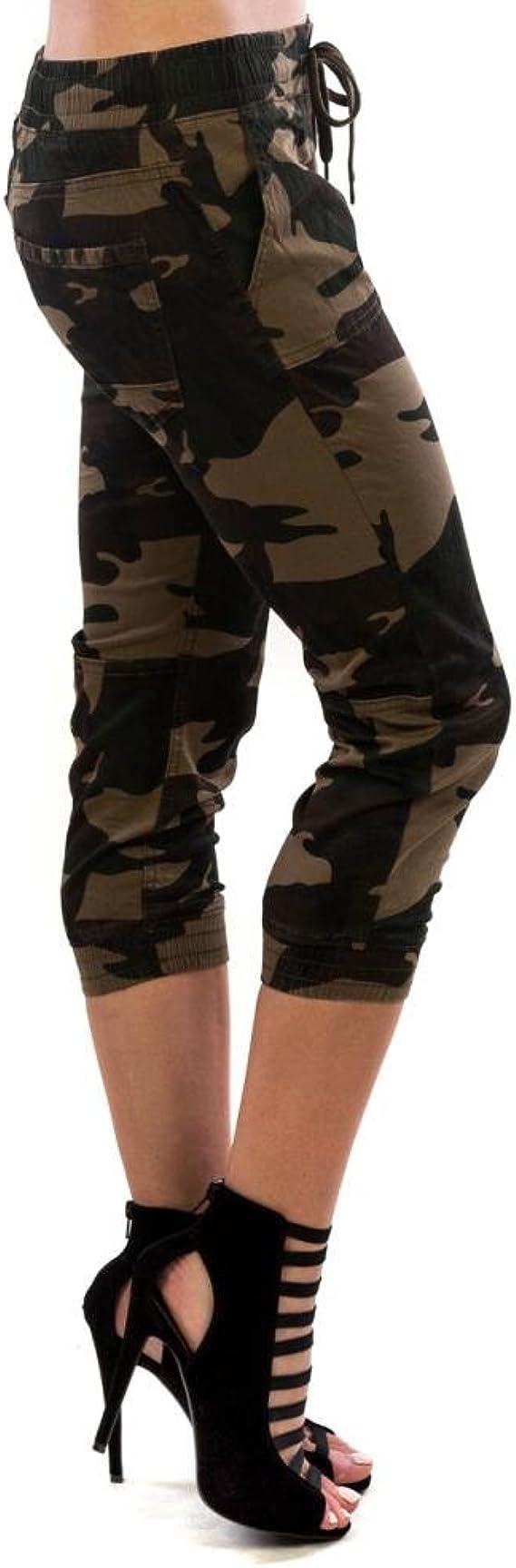 Camouflage Joggers Stretchy Cropped Pants Capri Pants Drawstring Fit 12-16 Khaki