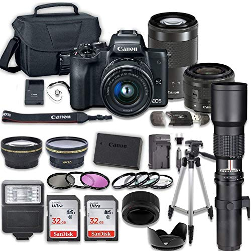 Canon EOS M50 Mirrorless Digital Camera with 15-45mm and 55-200mm Lenses + 500mm Preset Telephoto Lens + 2pc SanDisk 32GB Memory Cards + Accessory Kit
