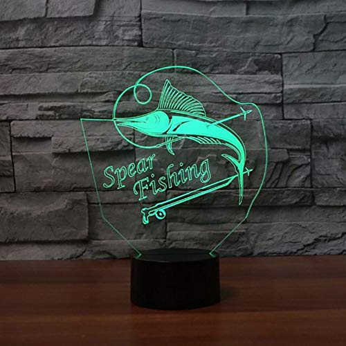Zonxn 3D Led Colorful Night Light Gradients Acrylic Spear Fishing Marlin USB Home Decor Sleep Lighting Fish Table Desk Lamp Kids Gifts