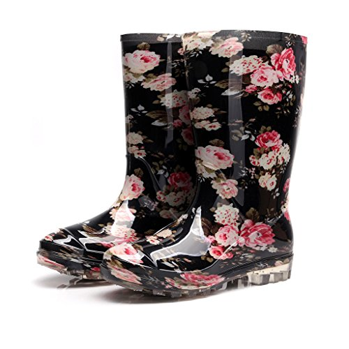 Kontai Womens Rain and Garden Boot Wellies Half Calf Rubber Rainboots Floral Printed Waterproof for Garden Women rain Footwear Size 5
